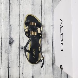 ALDO Reinelle Black And Gold Sandal US 7